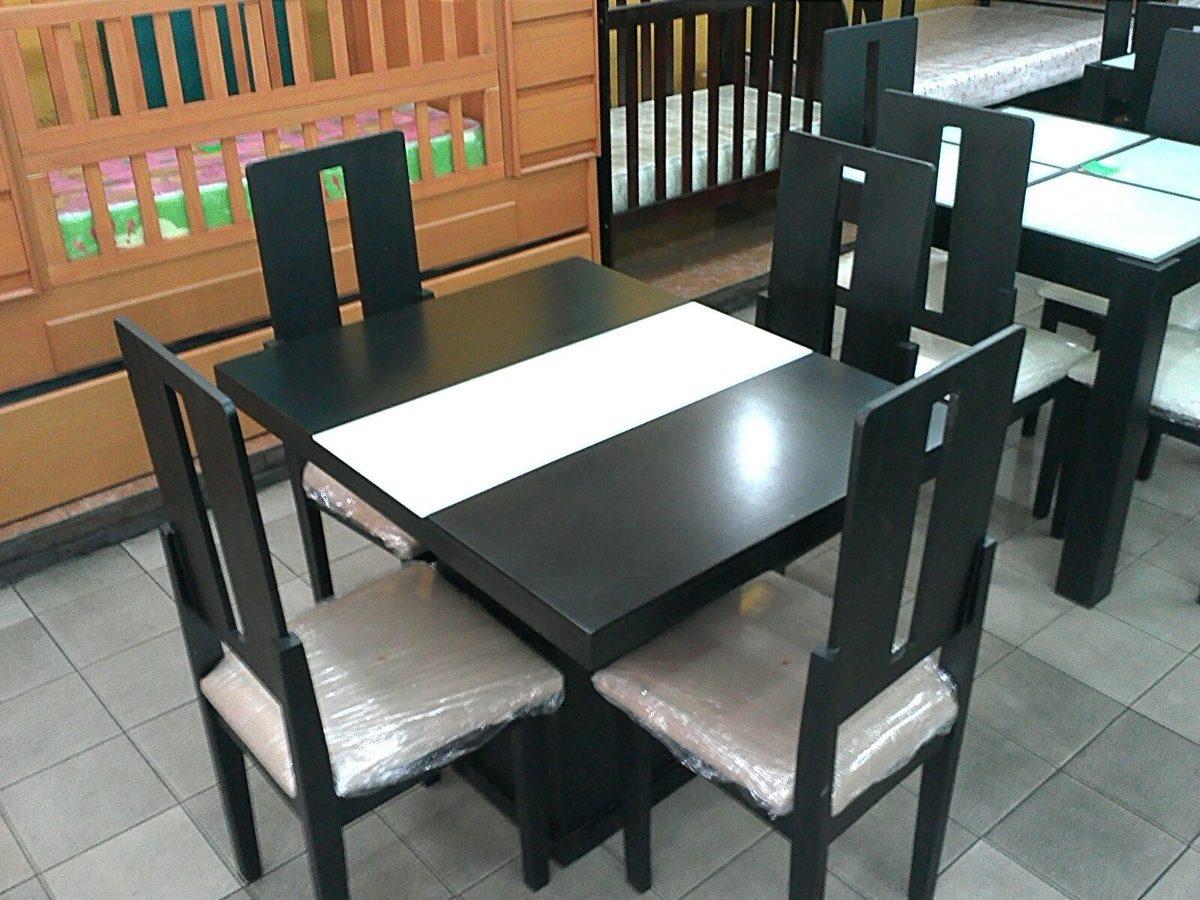 Juego comedor de 4 sillas con tope de vidrio bs for Precios de comedores en vidrio