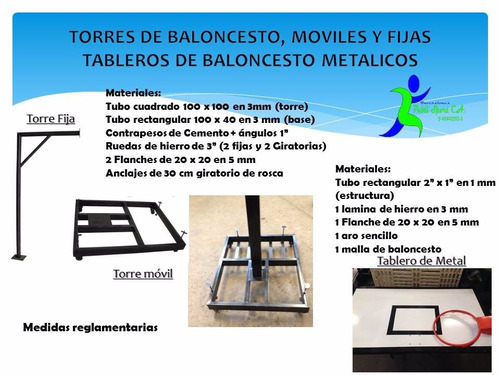tableros  de baloncesto metal - torres moviles y fijas